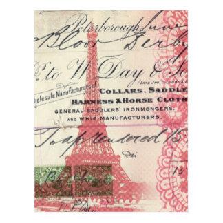 vintage paris pink eiffel tower lace pattern postcard