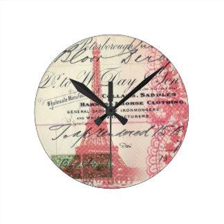 vintage paris pink eiffel tower lace pattern round clock