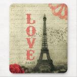 Vintage Paris   Pink Mouse Pad