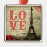 Vintage Paris | Pink Square Metal Christmas Ornament