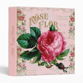 Vintage Paris Pink Rose Fashion, pretty floral art 3 Ring Binder