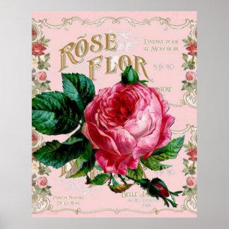 Vintage Paris Pink Rose Fashion, pretty floral art Poster