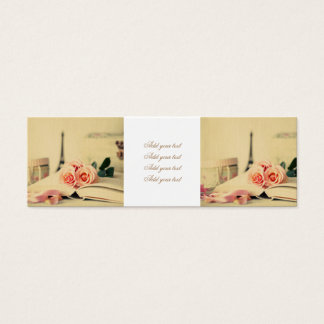 Vintage,paris,pink roses,eiffeltower,romantic,chic mini business card