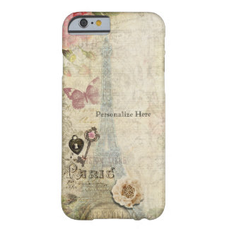 Vintage Paris Pink Roses Lock & Key Shabby Chic Barely There iPhone 6 Case