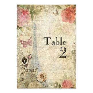 Vintage Paris Pink Roses Wedding Table Number Card