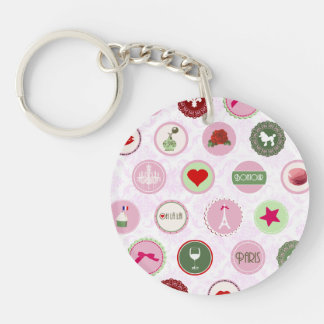 Vintage Paris Pink Shabby Chic pattern Double-Sided Round Acrylic Keychain