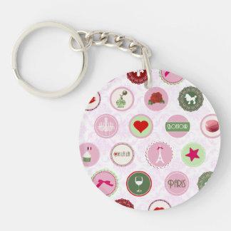 Vintage Paris Pink Shabby Chic pattern Keychain