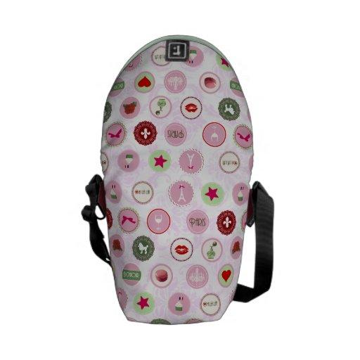Vintage Paris Pink Shabby Chic pattern Messenger Bag