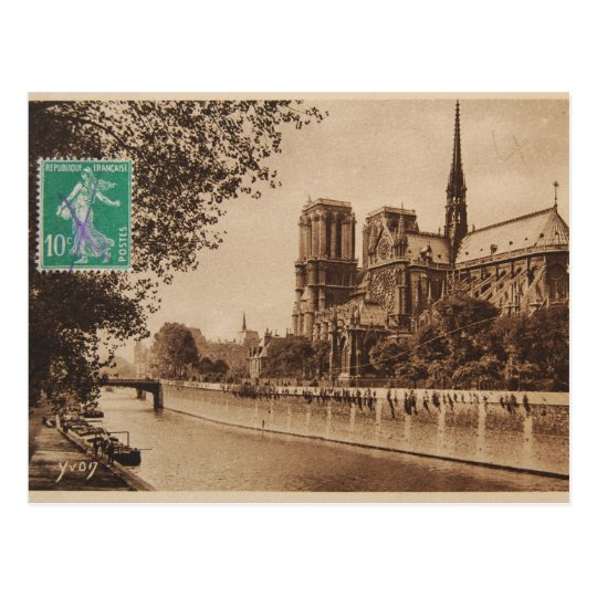 Vintage Paris Post Card Notre Dame Cathedral Postcard