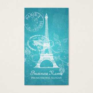 Vintage Paris Postcard Blue Business Card
