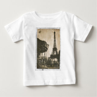Vintage Paris Postcard, Eiffel Tower Baby T-Shirt