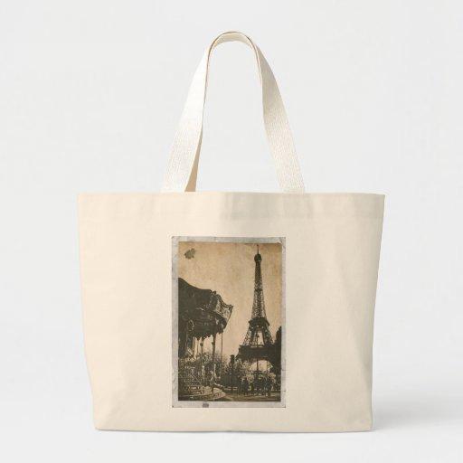 Vintage Paris Postcard, Eiffel Tower Canvas Bags