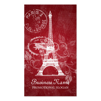 Vintage Paris Postcard Red Double-Sided Standard Business Cards (Pack Of 100)