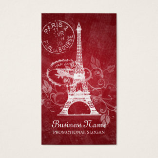 Vintage Paris Postcard Red Business Card