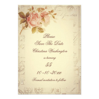 Vintage Paris Postmarks Chic Roses 55th Invitations