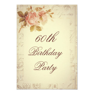 Vintage Paris Postmarks Chic Roses 60th Birthday Card
