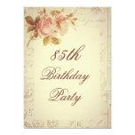 Vintage Paris Postmarks Chic Roses 85th Birthday 5x7 Paper Invitation Card