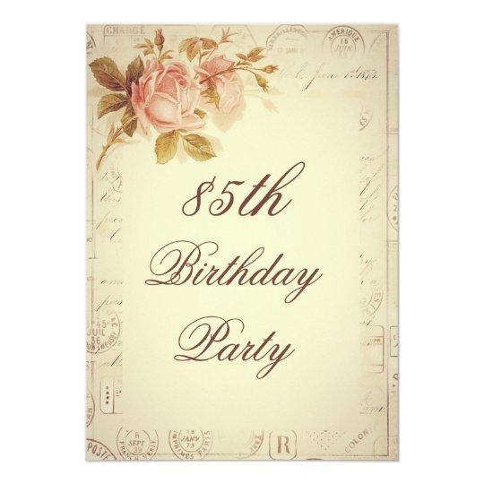 Vintage Paris Postmarks Chic Roses 85th Birthday Invitation