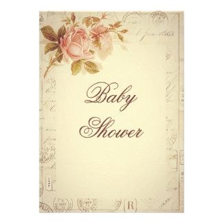 Vintage Paris Postmarks Chic Roses Baby Shower Invitation