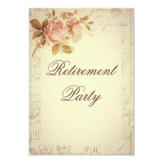 "Vintage Paris Postmarks Chic Roses Retirement 5"" X 7"" Invitation Card"