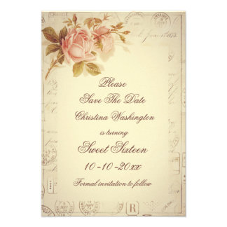 Vintage Paris Postmarks Chic Roses Sweet 16 Personalized Invite