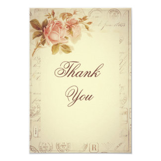 Vintage Paris Postmarks Chic Roses Thank You Card