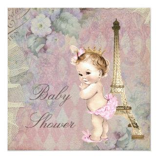 Vintage Paris Princess Floral Baby Shower 5.25x5.25 Square Paper Invitation Card