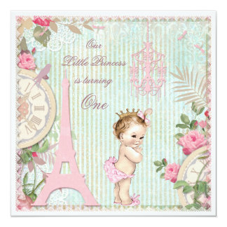 Vintage Paris Princess Shabby Chic 1st Birthday 5.25x5.25 Square Paper Invitation Card