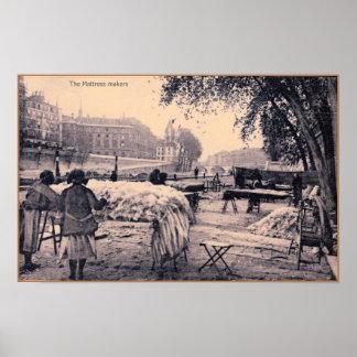 Vintage Paris professions: The Mattress makers Poster