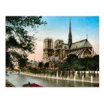 Vintage París, río el Sena e Ile de Notre Dame Postales
