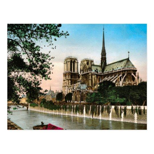 Vintage Paris River Seine And Ile De Notre Dame Postcard