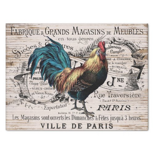 Vintage Paris rooster any purpose party tissue Tissue Paper