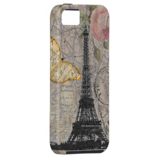 Vintage Paris Rose Butterfly Eiffel Tower Collage iPhone 5 Case