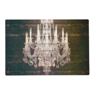 vintage paris rustic barn wood crystal chandelier placemat