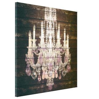 vintage paris rustic barn wood purple chandelier canvas print