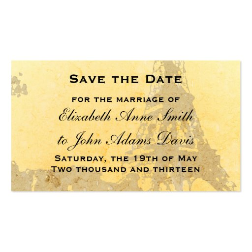 Vintage Paris Save the Date Card Double-Sided Standard Business Cards (Pack Of 100)