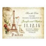 VINTAGE PARIS SAVE THE DATE POSTCARDS