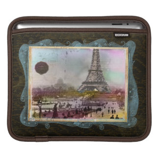 Vintage Paris Scene Eiffel Tower Collage Sleeve For iPads