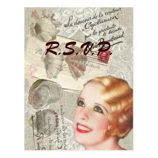 Vintage Paris seashells  bridal shower RSVP Postcard