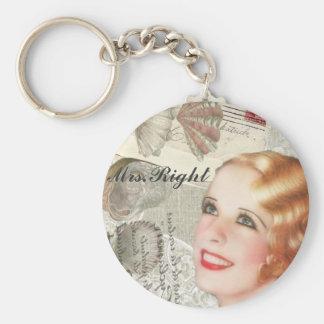vintage paris shabby chic retro Mrs Right Keychain