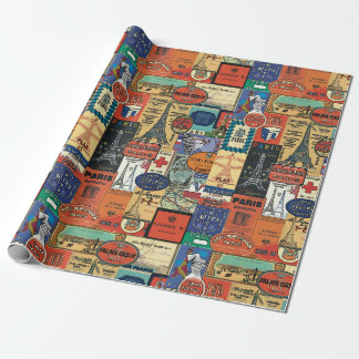 Vintage Paris Stckers Wrapping Paper