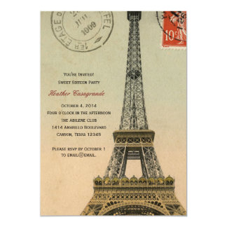 Vintage Paris Sweet Sixteen Birthday Party Invite
