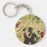 Vintage Paris Tango post card Keychain