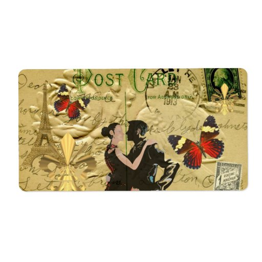 Vintage Paris Tango post card Personalized Shipping Label