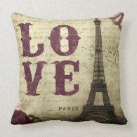 Vintage Paris Throw Pillows