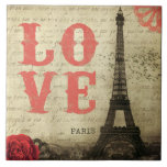 """Vintage Paris Tile<br><div class=""""desc"""">Vintage Eiffel Tower image in Paris,  France. An old French love letter is faded in the background.</div>"""