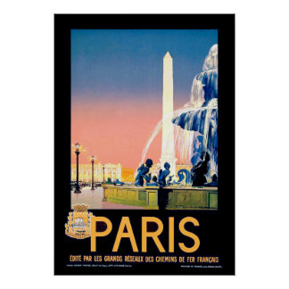 Vintage Paris Travel Advertisement Poster