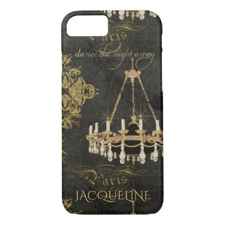 Vintage Paris Typography Chandelier Dance Name iPhone 7 Case