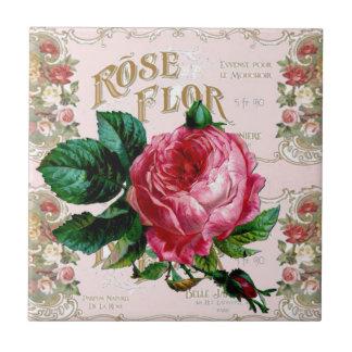 Vintage Paris Typography, Rose countrycottage Tile