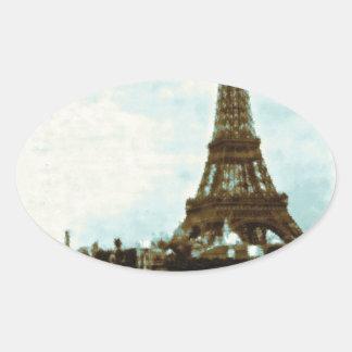 Vintage Paris Water Color Oval Sticker